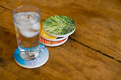 Instagram coasters on a dining table