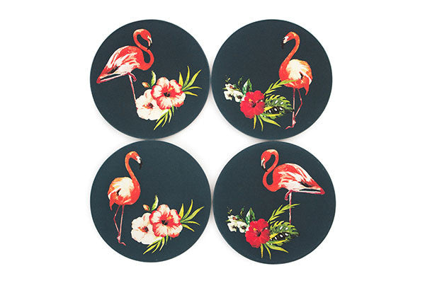 Flamingo Coasters Navy background