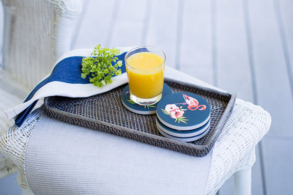 Designer Flamingo Coasters with Navy background