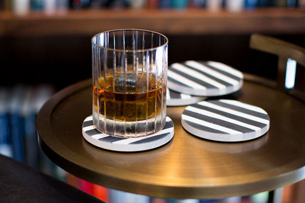 Classic Black striped designer coasters