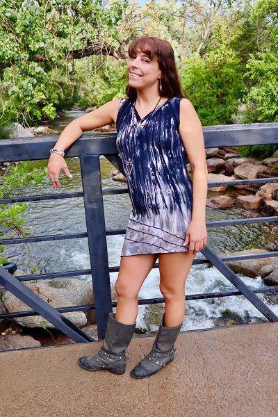 Lined Angle Dress - Navy  White  Tan Tie Dye
