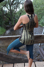 Yoga Tank with Woven Back - Green | Black Tie Dye