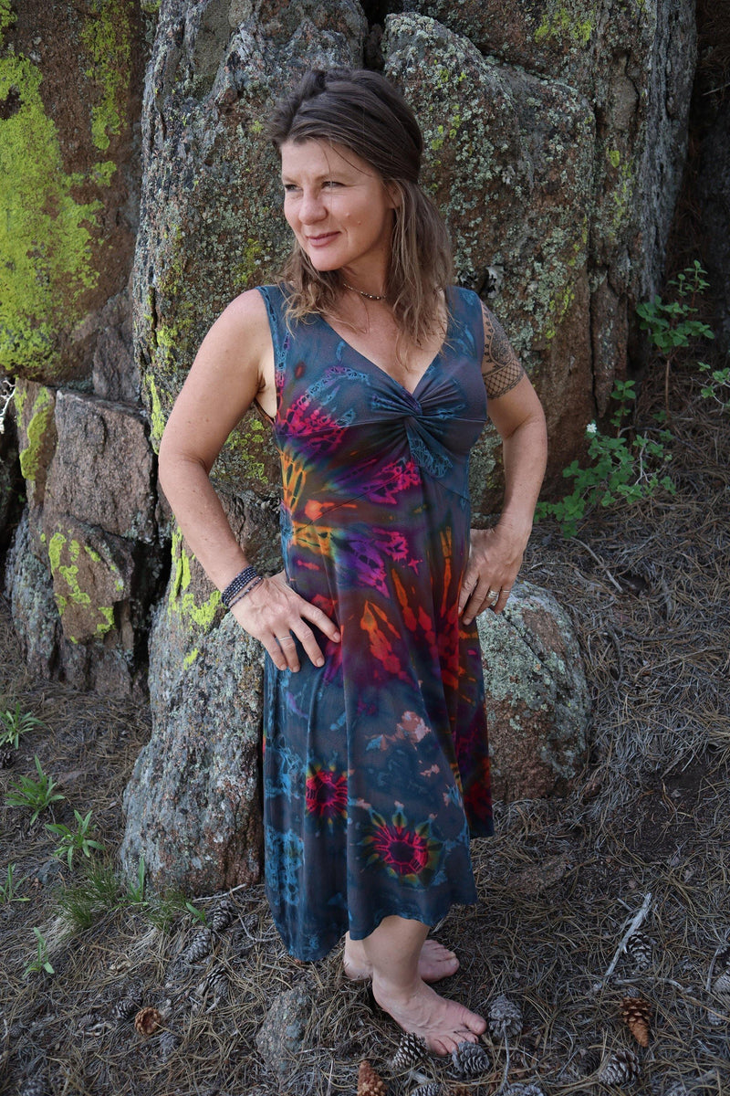 Tie Dye Twist in Front Dress - Gray Tie Dye