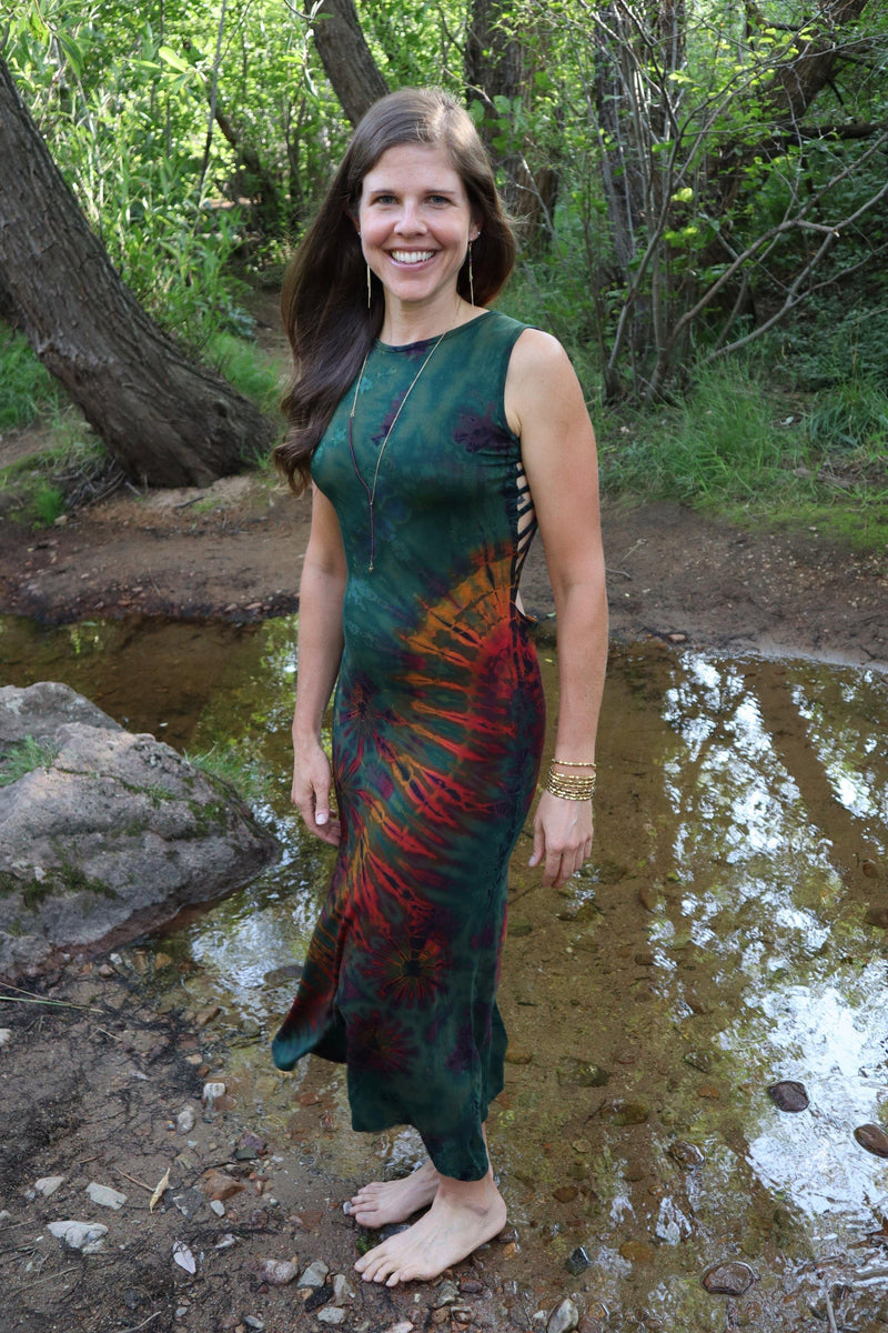 Tie Dye Long Maxi Dress - Green Tie Dye