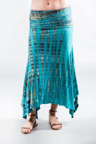 Long Convertible Skirt  Dress - Turquoise  Brown Tie Dye