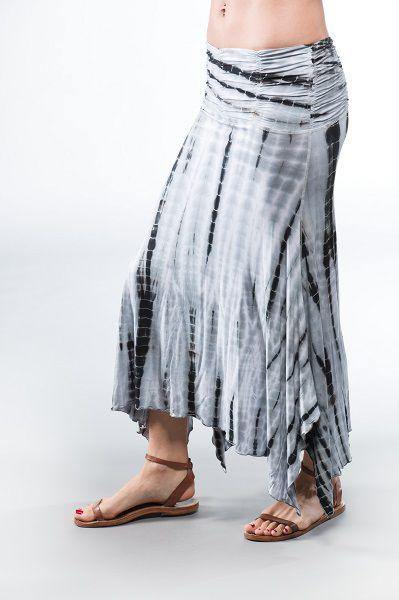 Long Convertible Skirt  Dress - Black  White Tie Dye