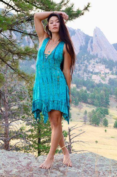 Gypsy Tank Dress - Turquoise  Brown Tie Dye