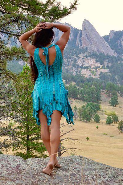 Gypsy Tank Dress - Turquoise | Brown Tie Dye