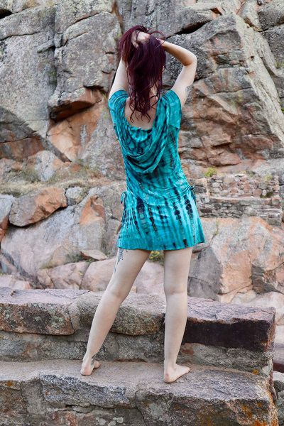 Short Sleeved Hooded Dress - Turquoise | Brown Tie Dye - Filosophy