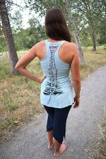 Yoga Tank with Woven Back - Light Blue
