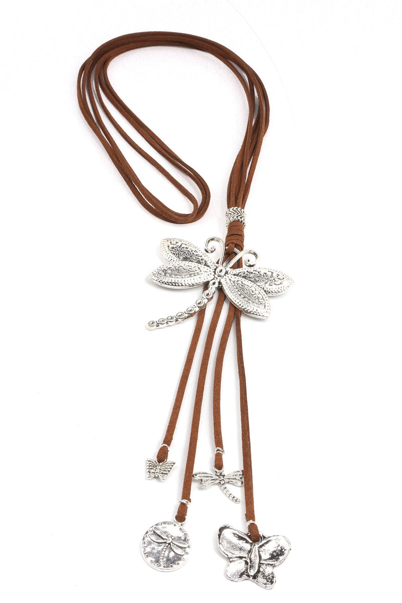 Silver Dragonfly Necklace on leather cord.