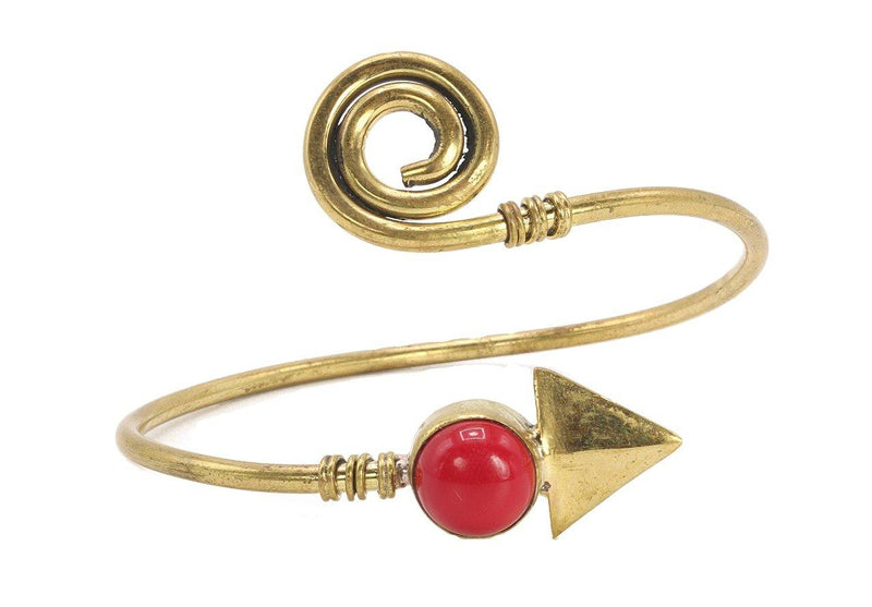 Brass Bangle Bracelet - Red Stone