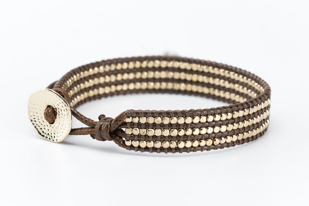 Gold Beaded Single Wrap Bracelet on Dark Brown Cord