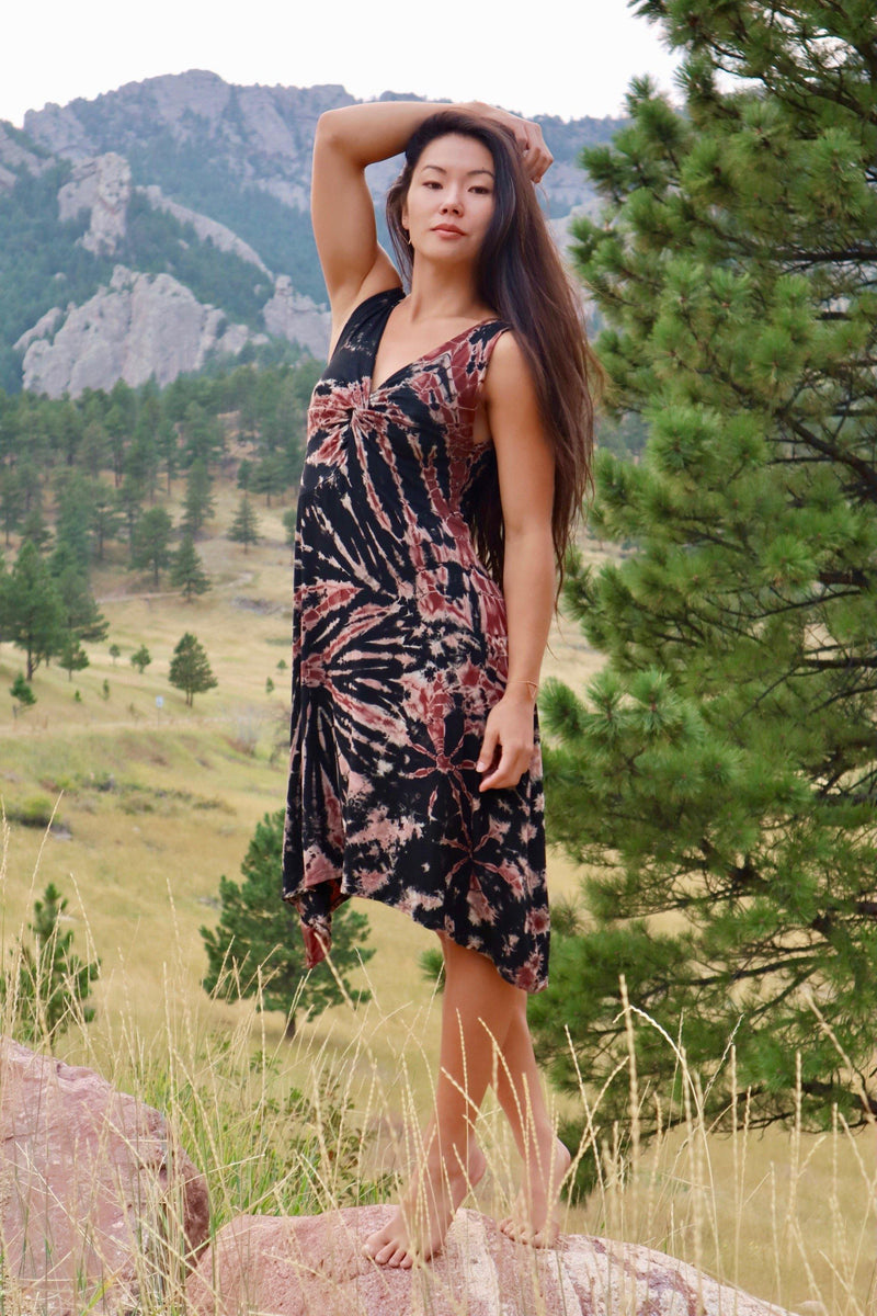 Tie Dye Twist in Front Dress - Black | Burgundy Tie Dye