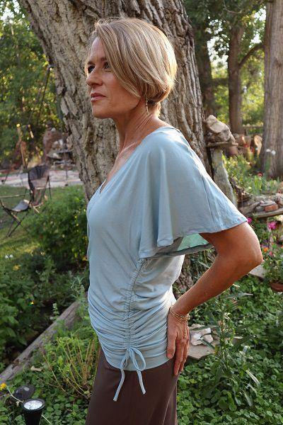 Flair Shoulder Top - Light Blue