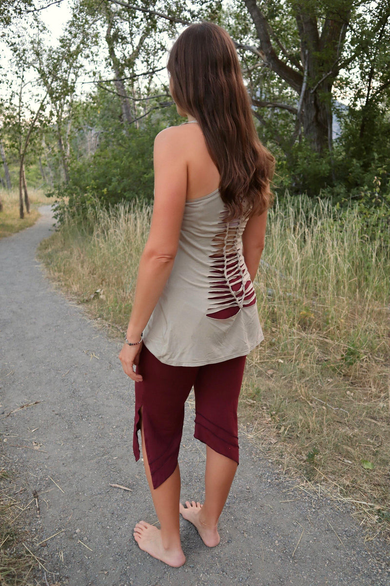 Yoga Tank with Woven Back - Taupe