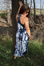 Long Racerback Tie Dye Dress - Blue | White