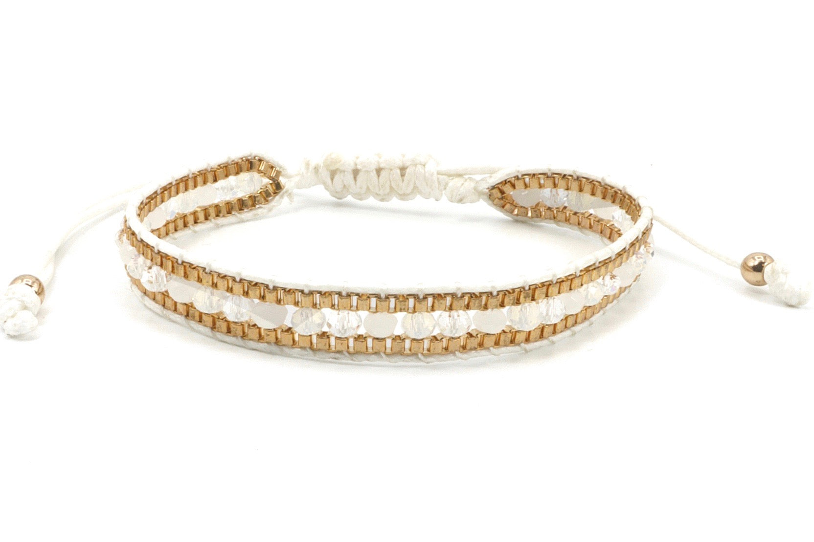 Single Wrap Bracelet with gold chain and white cotton cord.