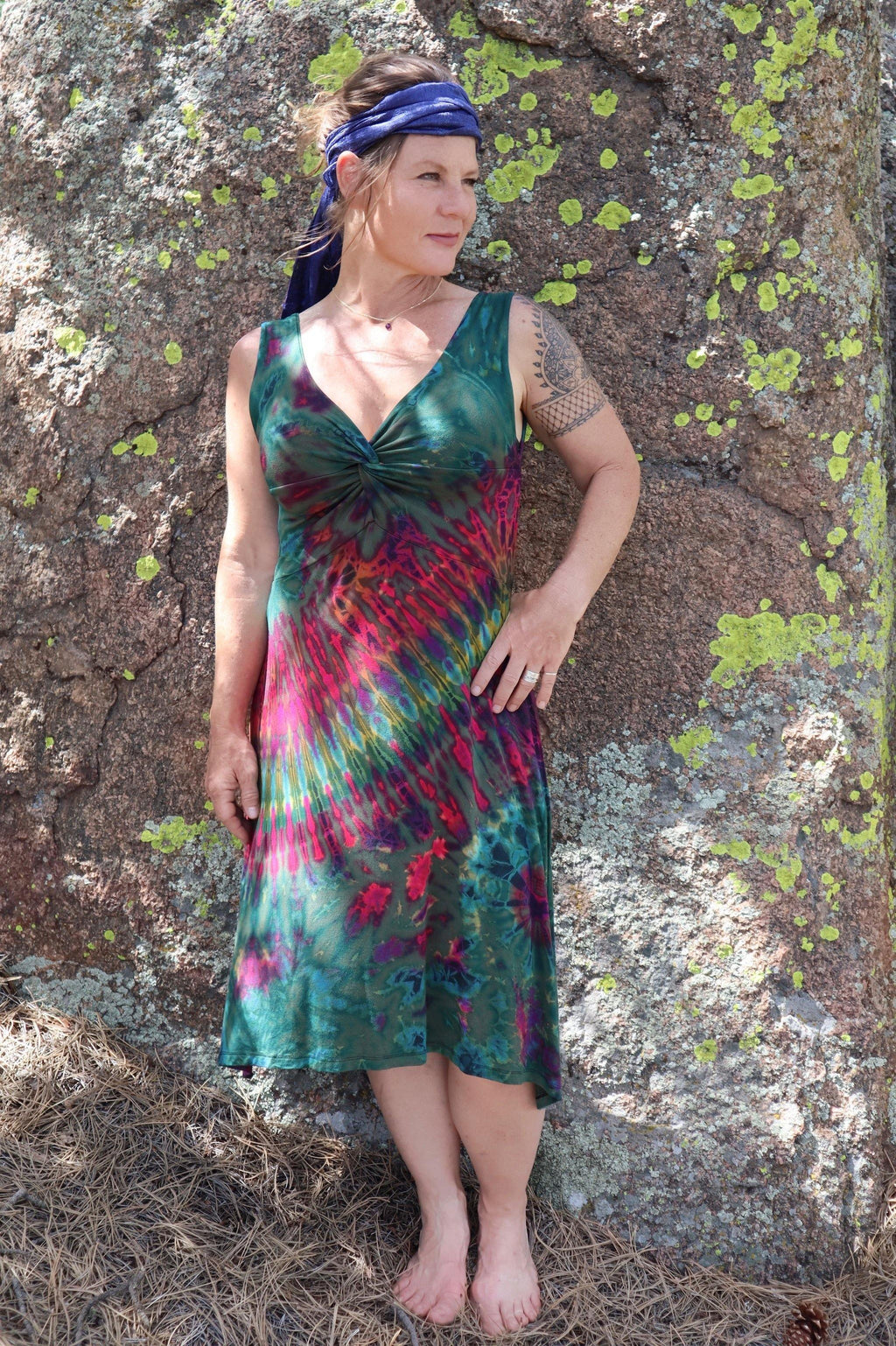 Tie Dye Twist in Front Dress - Green Tie Dye