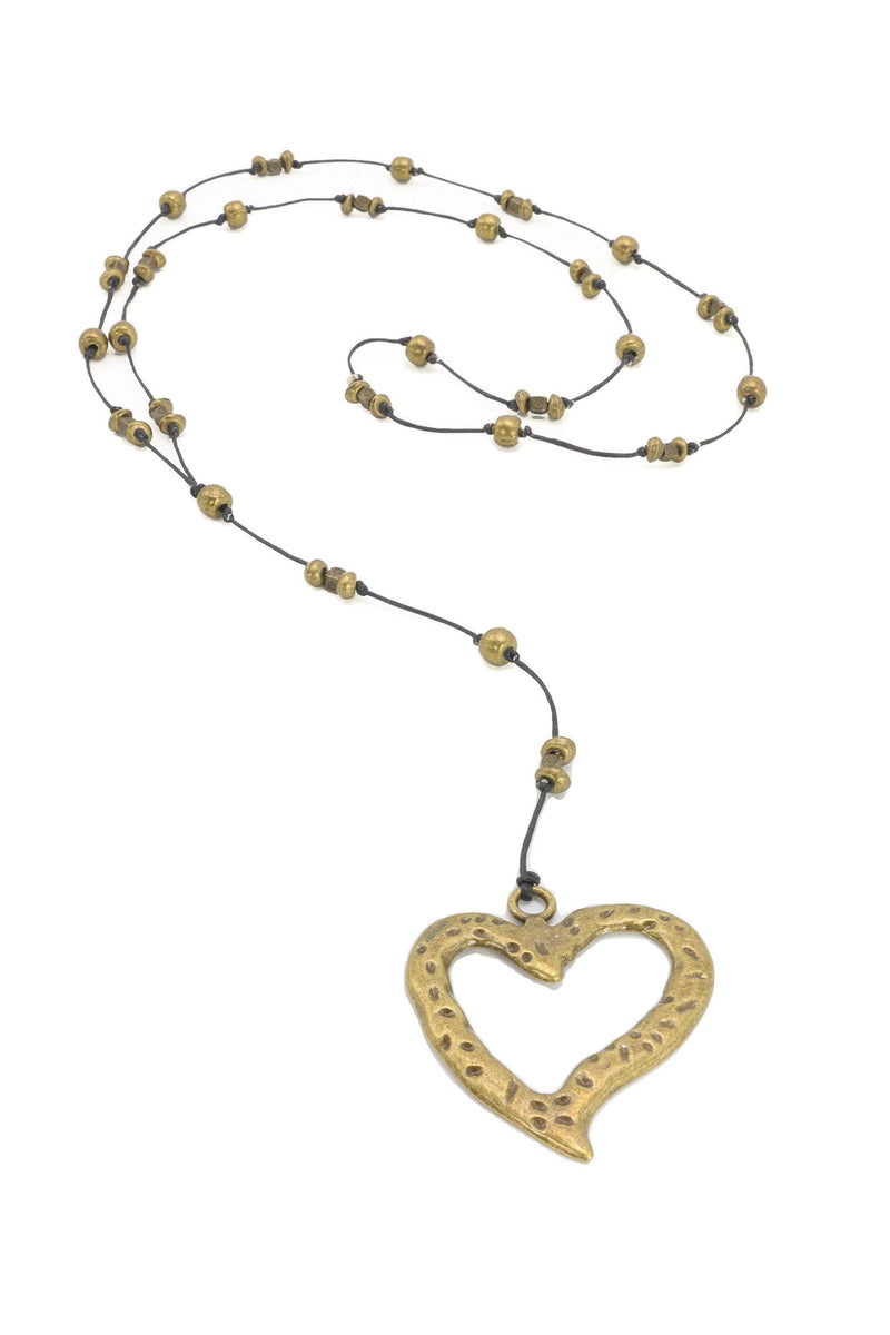 Brass Heart Y Necklace