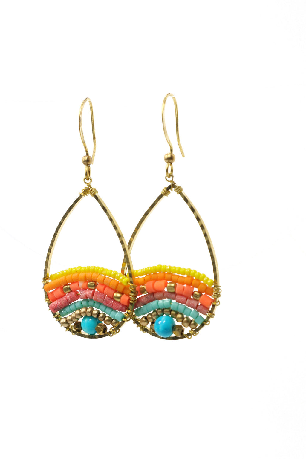 These are small teardrop island-style statement earrings with fantastic colors of a sunrise. They feature Afghani style tube beads, brass and acrylic beads. They are handmade with love in Thailand. This is a Fairtrade Product.