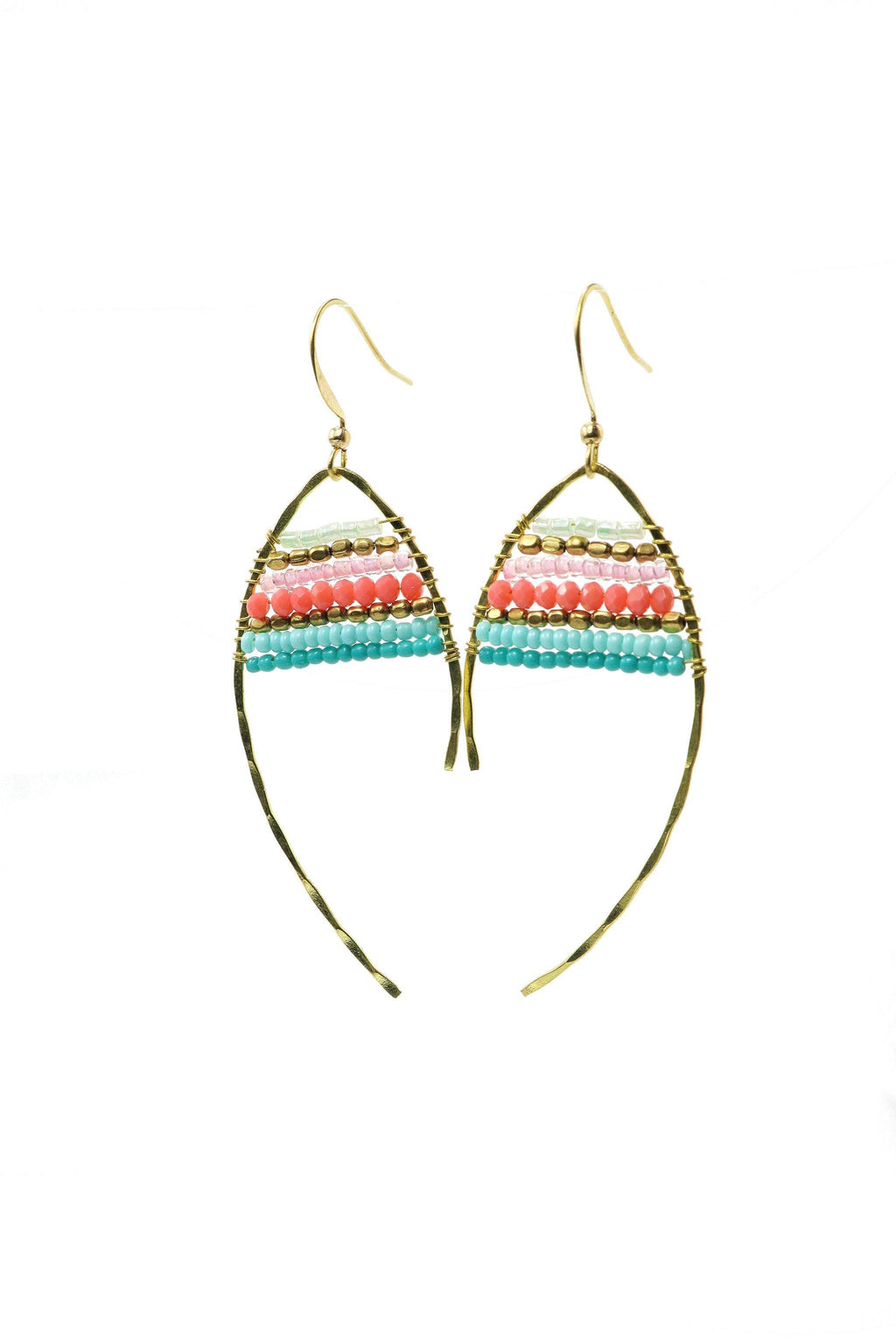 These are statement fish-shaped brass beaded earrings in shades of turquoise and pink.  They feature brass and acrylic and glass beads. They are handmade with love in Thailand.   This is a Fairtrade Product.