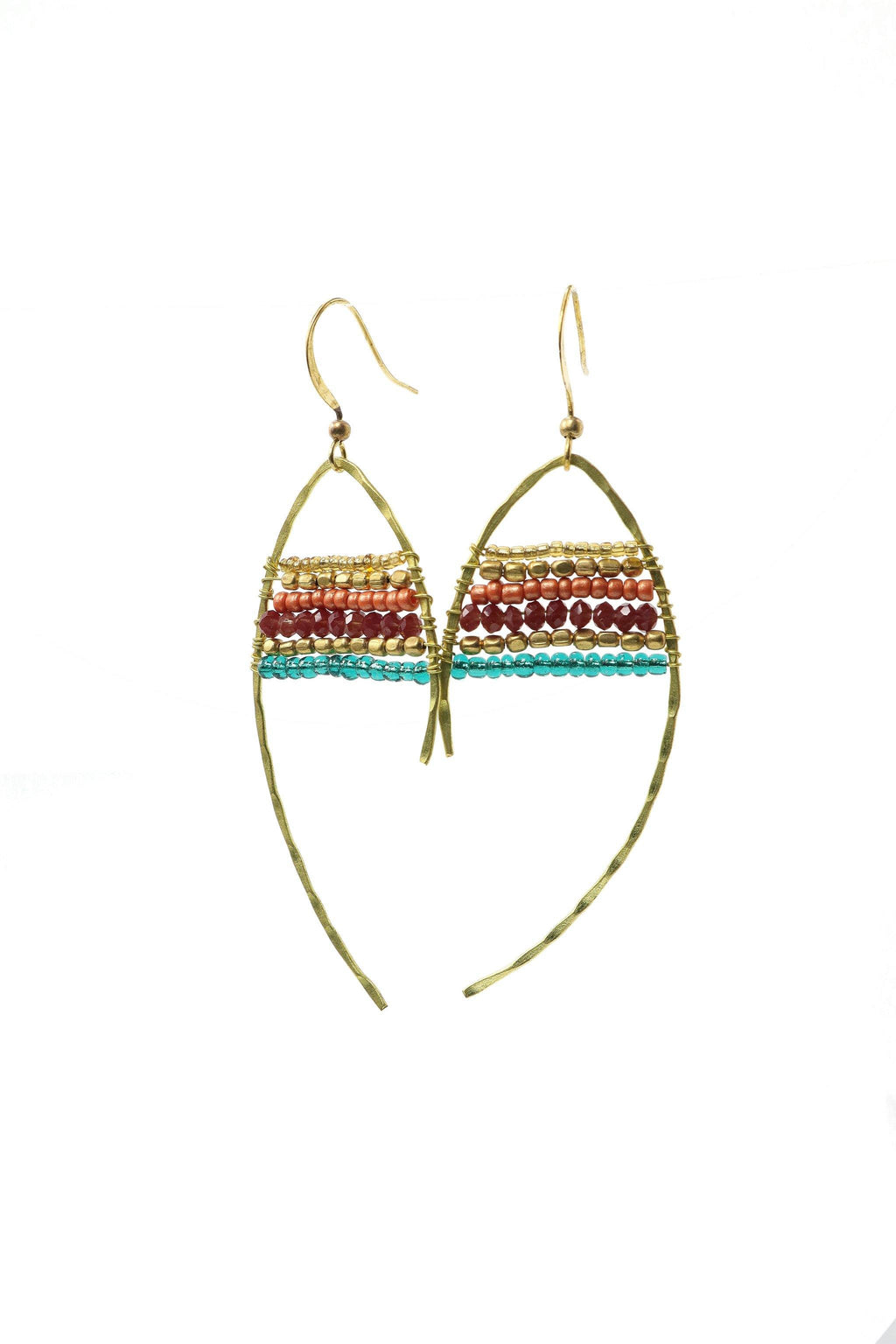 These are statement fish-shaped brass beaded earrings in shades of gold, burgundy, pink and turquoise.  They feature brass and acrylic and glass beads. They are handmade with love in Thailand.   This is a Fairtrade Product.