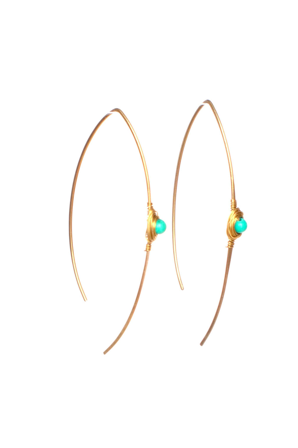 These wishbone gemstone earrings are wire wrapped giving it a genuine, handmade look.  This pair is made with turquoise gemstones. This product is handmade and fairtrade in Thailand.