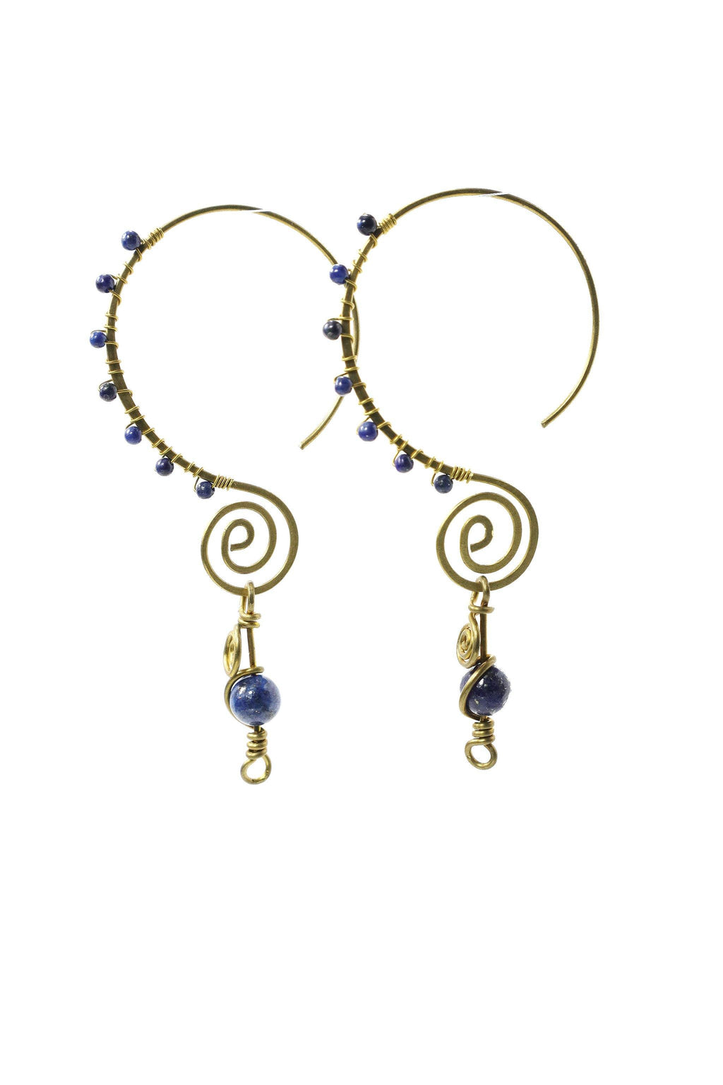 These handmade, brass, swirl earrings feature a fun infinity style hoop, wire wrapped with small gemstones, and finished with a larger lapis lazuli gemstone as a focal point. This product is handmade and fairtrade in Thailand.