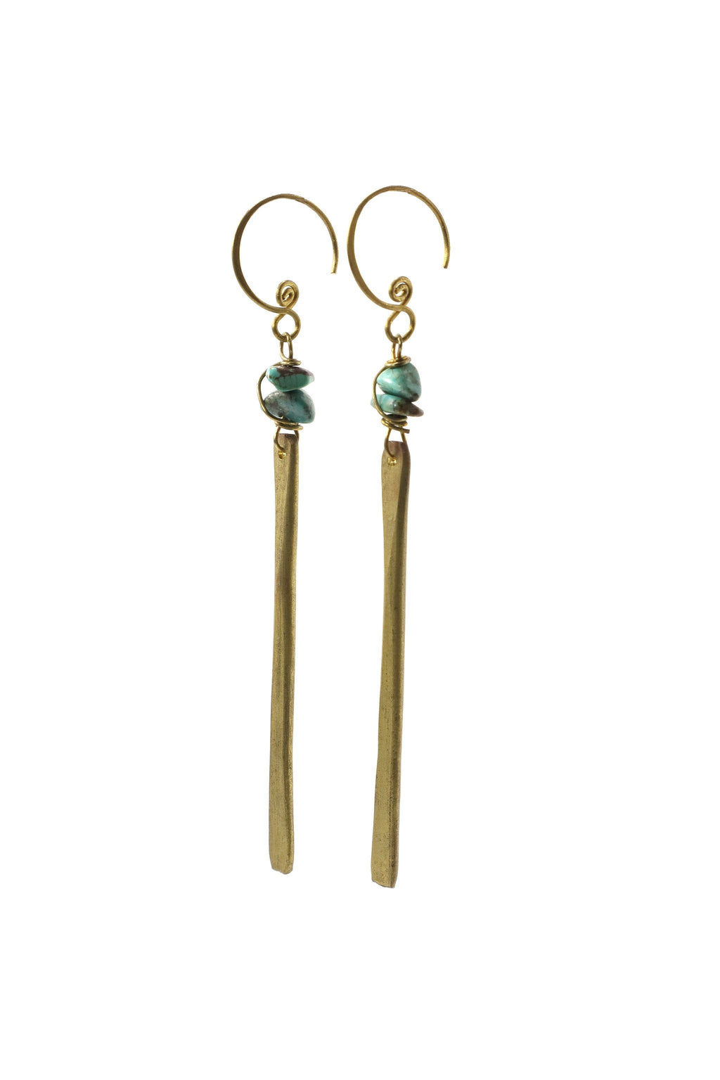 These handmade brass, bar earrings feature turquoise gemstone chips. This product is handmade and fairtrade in Thailand.