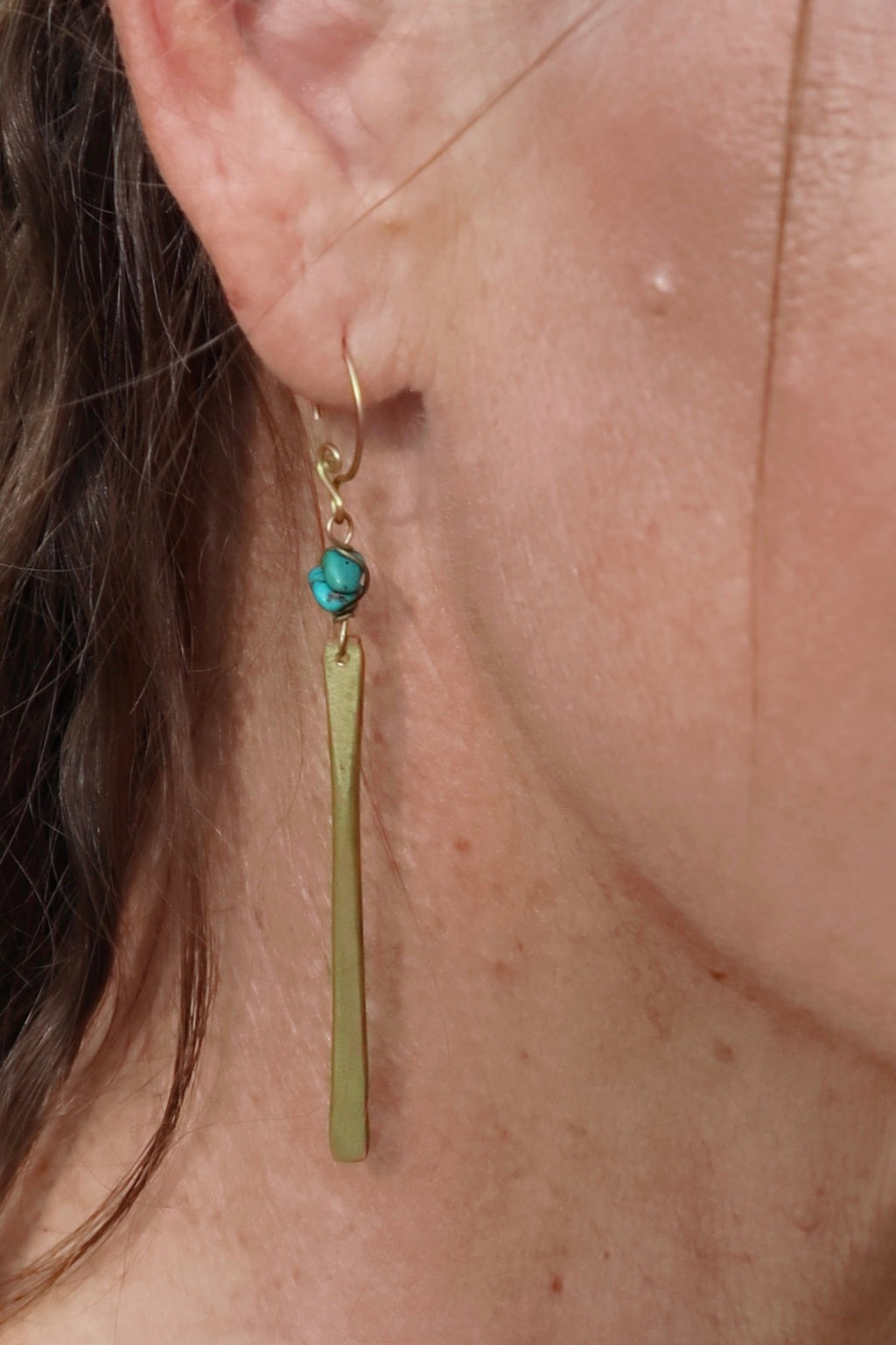 Bar Drop Gemstone Earrings - Turquoise - Filosophy