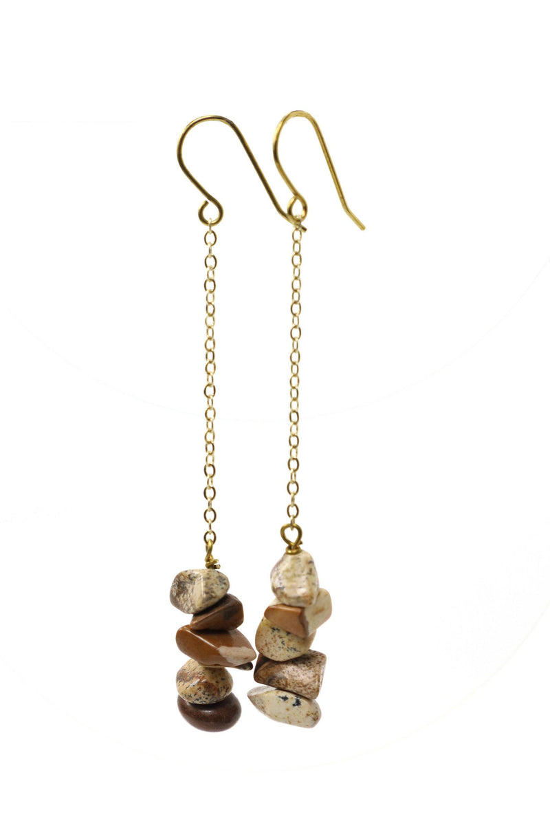 These stacked stone earrings feature a beautiful cream and brown jasper chip gemstone on a gold plated chain with gold plated hooks.