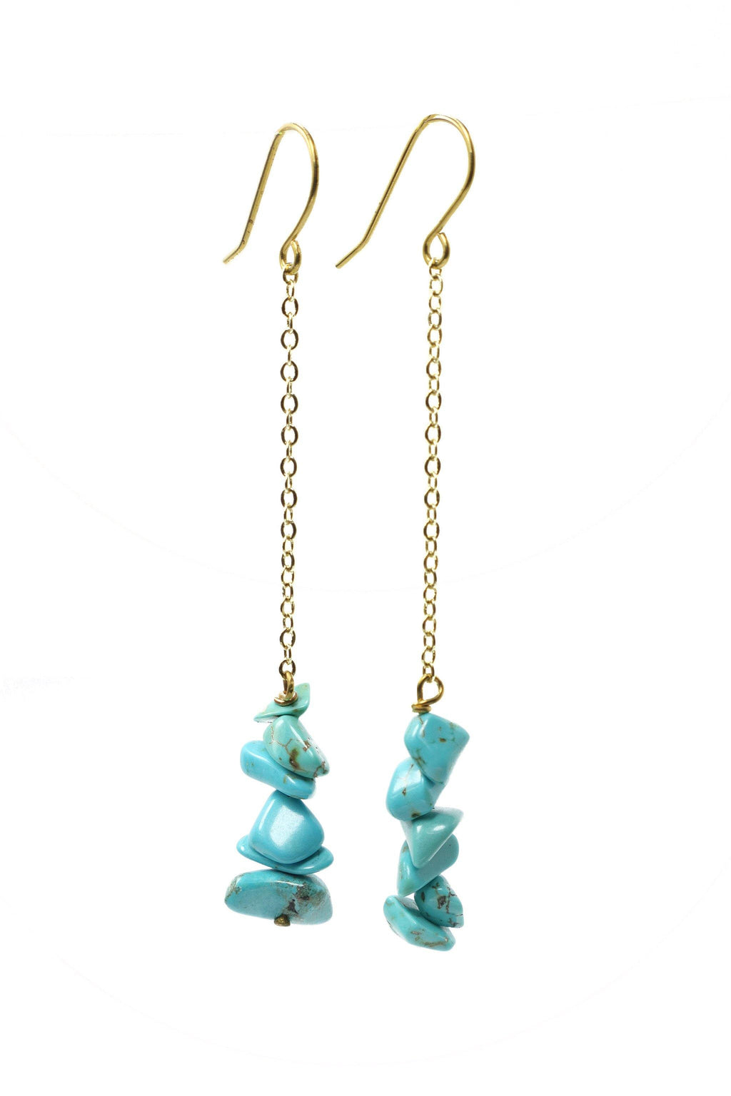 These stacked stone earrings feature a beautiful turquoise chip gemstone on a gold plated chain with gold plated hooks