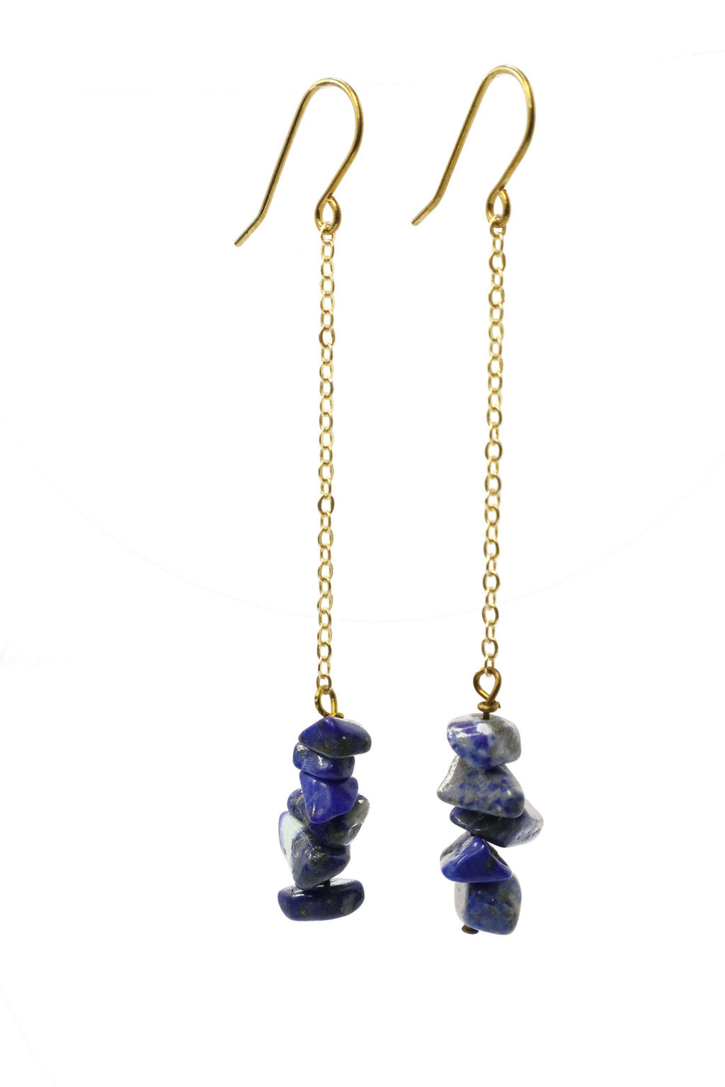 These stacked stone earrings feature a beautiful dark blue lapis lazuli chip gemstone on a gold plated chain with gold plated hooks.