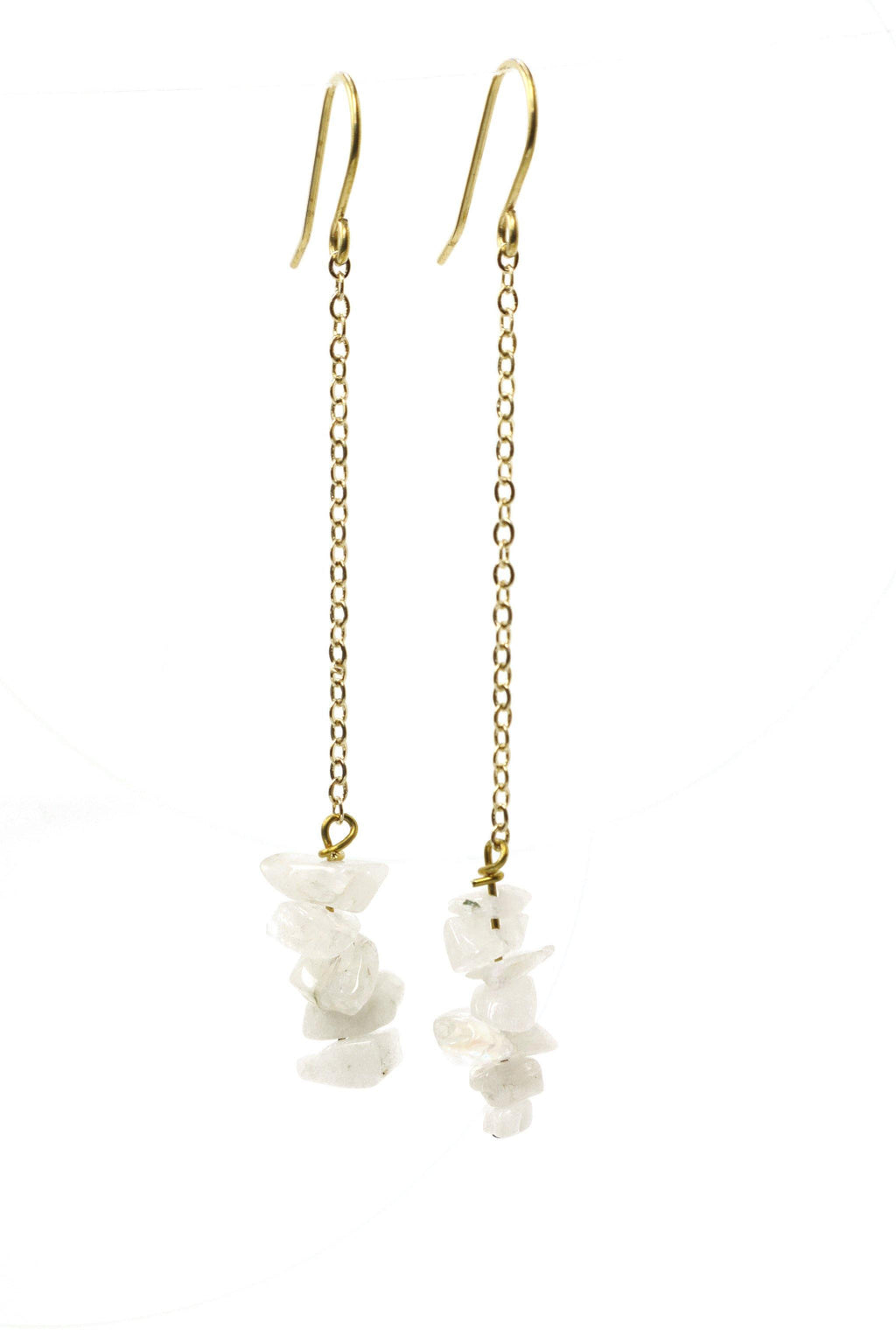 These stacked stone earrings feature a beautiful white moonstone chip gemstone on a gold plated chain with gold plated hooks.