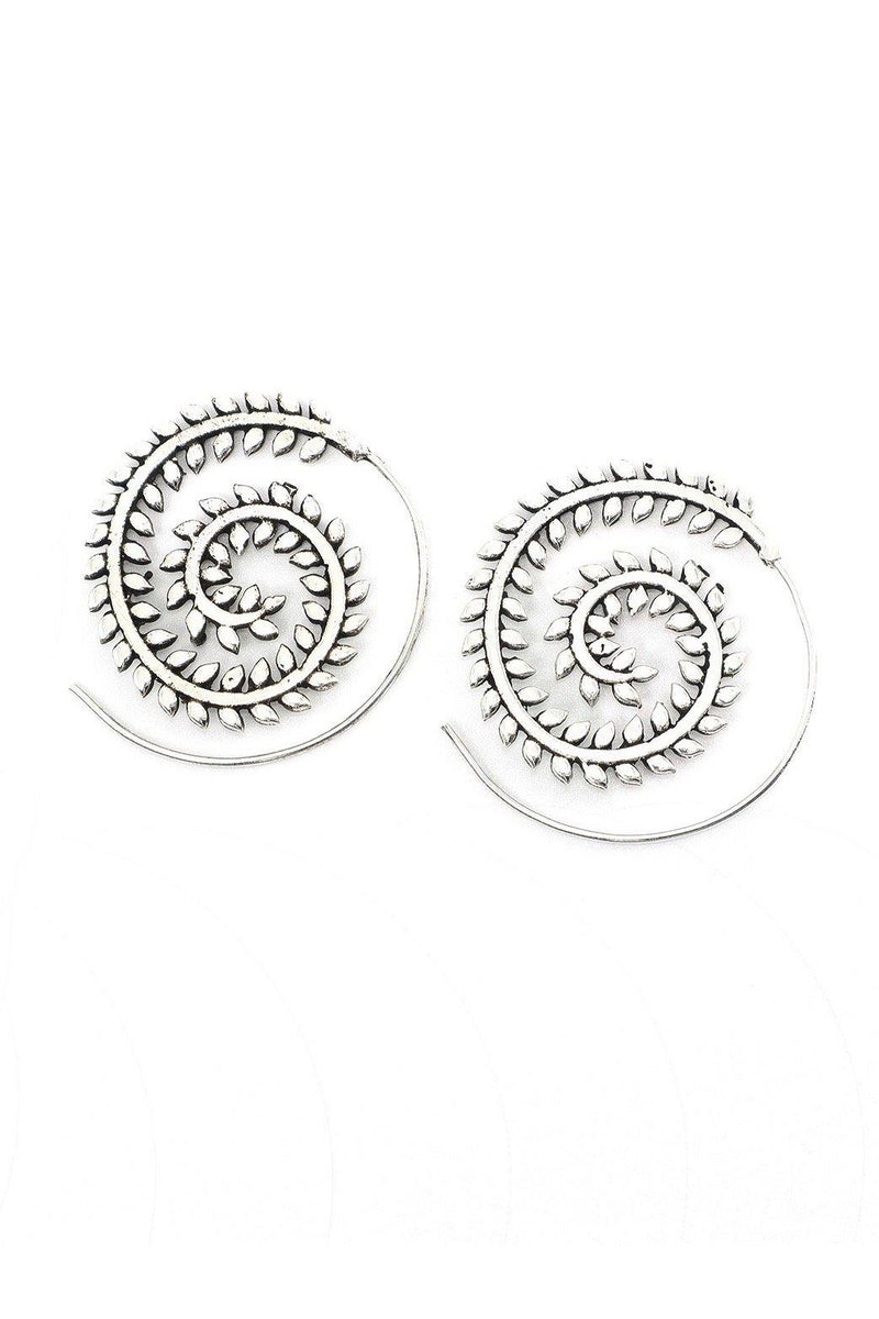 The silver spiral tribal threader earrings feature a leaf on a vine design. Simply insert the end of the earring into your ear and thread it around until it hits the design on the earring. The earring will stay in place without the need for a back.