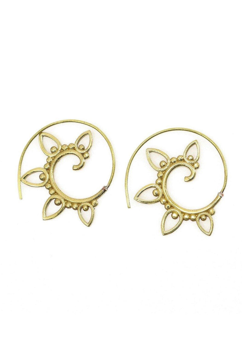 These brass spiral ethnic threader earrings are edgy and light.  Simply insert the end of the earring in your ear until the design begins.  Earrings will stay in place.