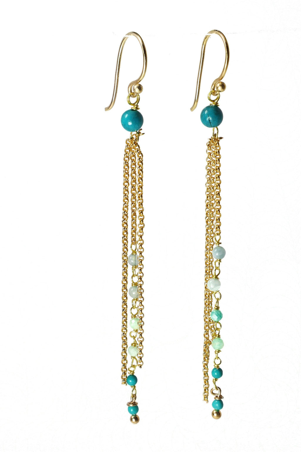 These earrings are a triple strand of rosary style gemstones and chains. The round aquamarine, jade, and turquoise gemstones are wired in a graduated tone from light to dark. These earrings are handmade with love in Thailand. This is a Fairtrade Product.