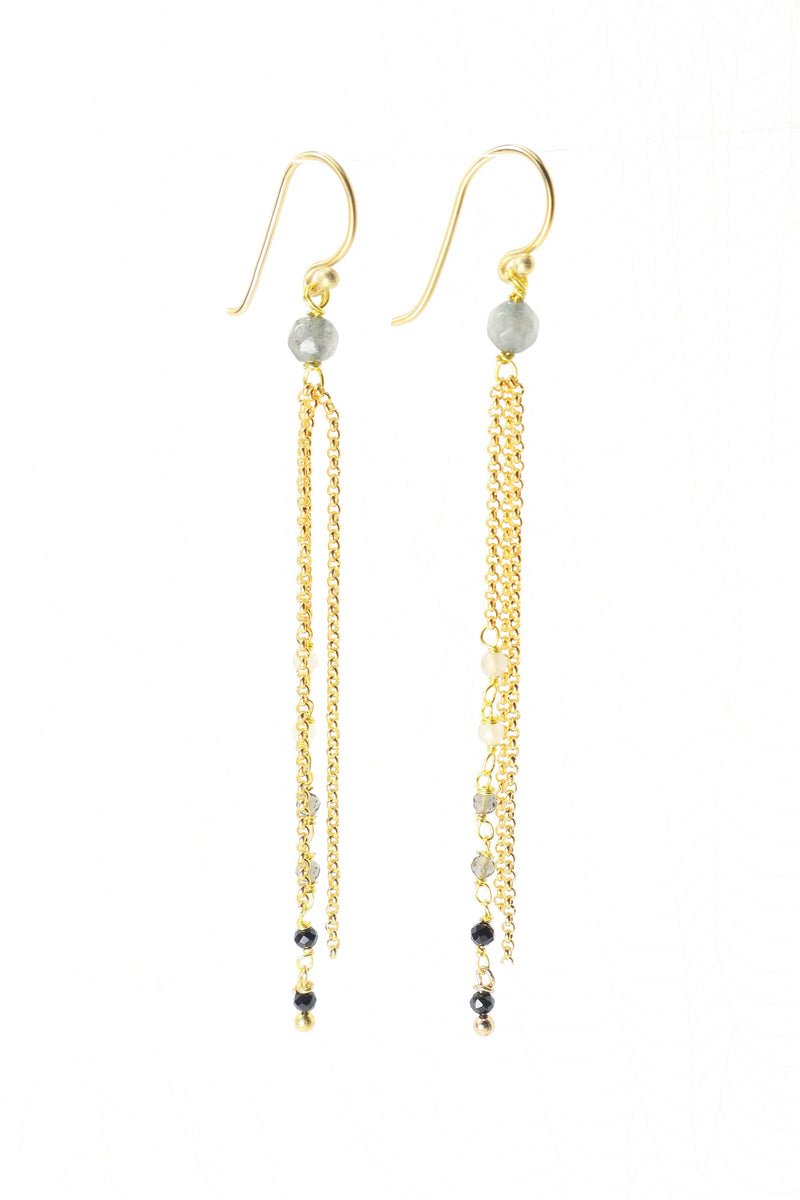 These earrings are a triple strand of rosary style gemstones and chains. The faceted crystal quartz, smokey quartz, and onyx are wired in a graduated tone of light to dark. They are perfect with your favorite pair of black jeans. These earrings are handmade with love in Thailand. This is a Fair Trade Product.