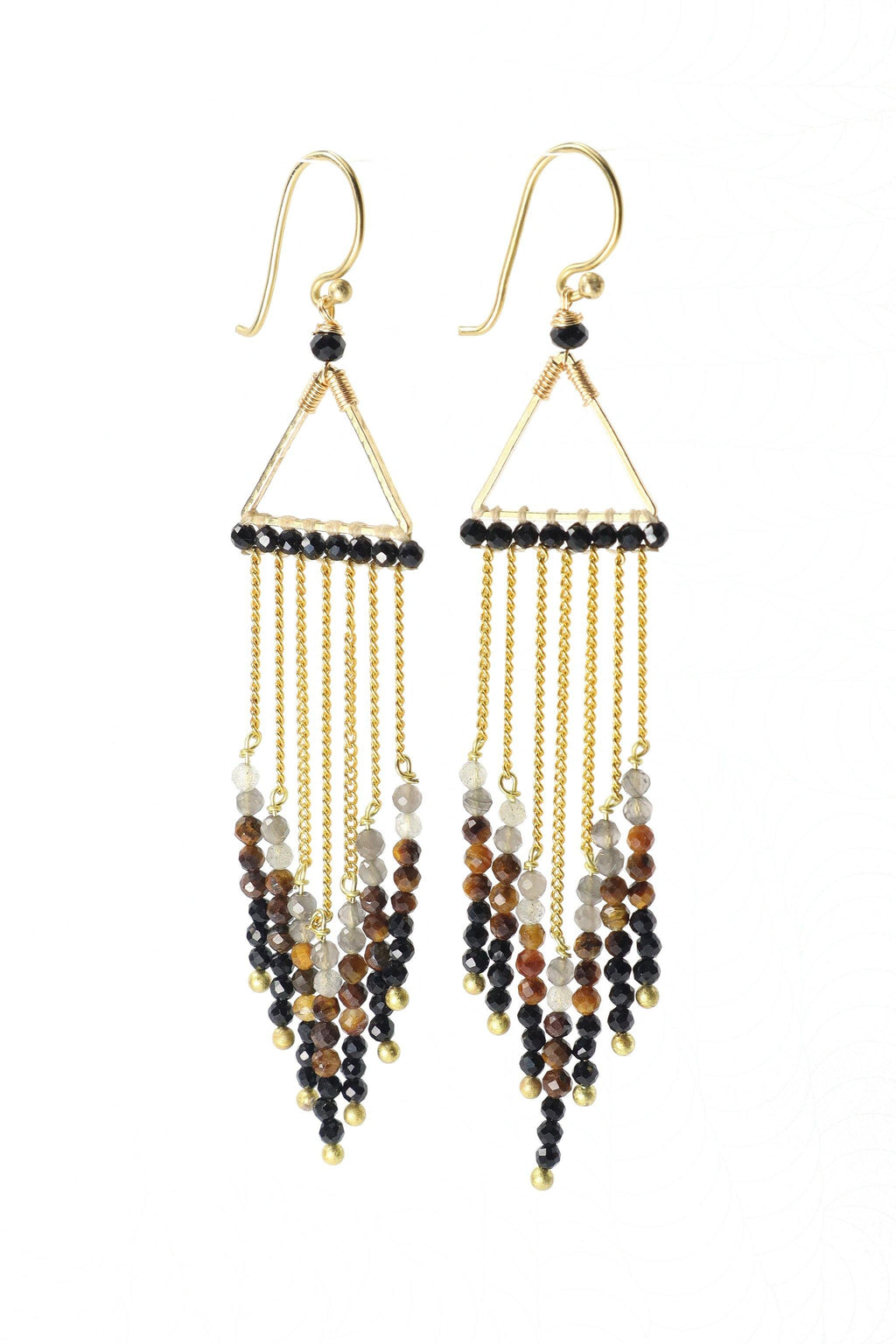 These waterfall statement earrings are a show stopper. They feature beautiful faceted smokey quartz, tiger eye, and onyx gemstones hanging from a golden triangle in graduated tones from light to dark. They are handmade with love in Thailand. This is a Fairtrade Product.