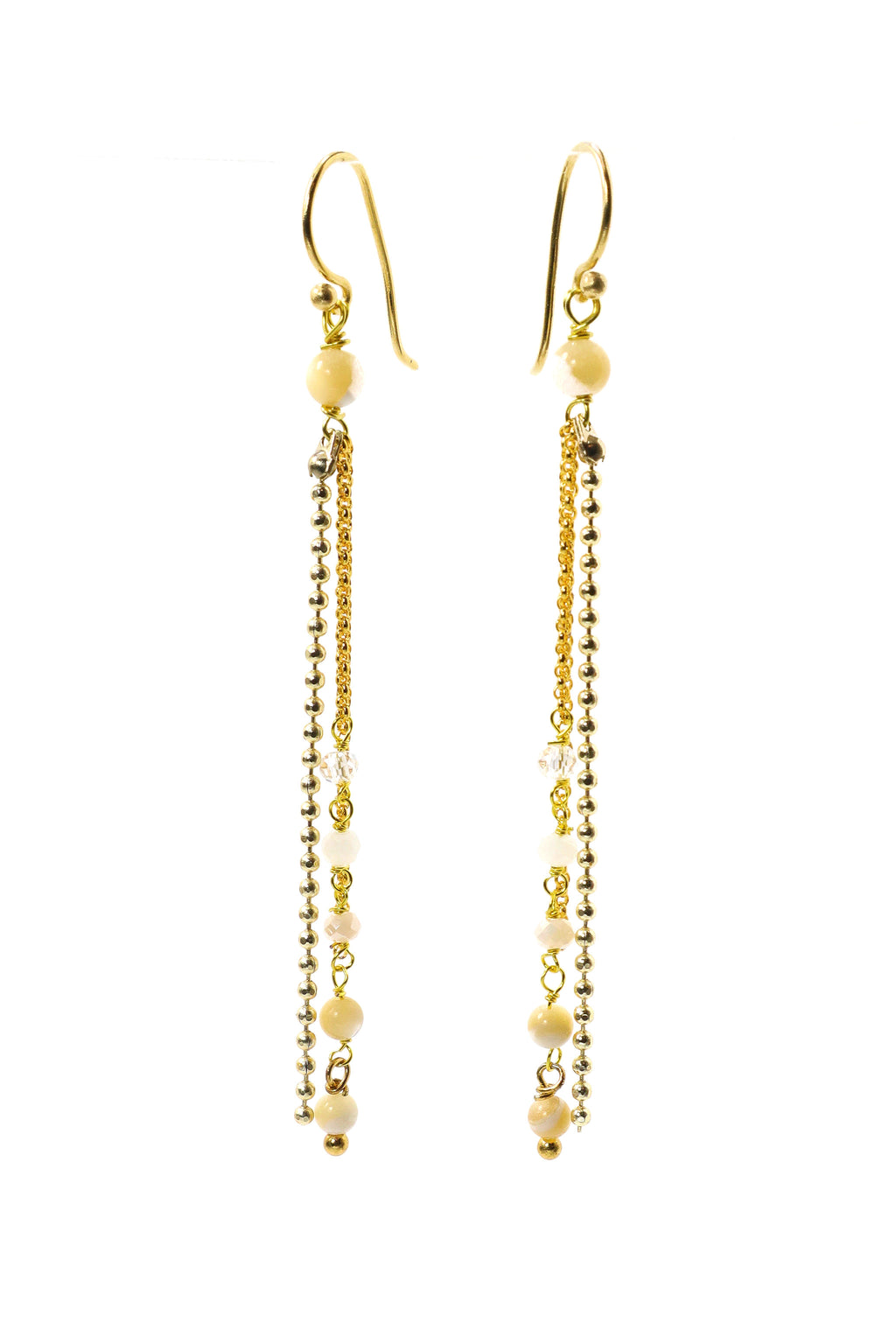 These earrings are a double strand of rosary style gemstones and gold chain. They feature crystal quartz, white quartz and agate gemstones all wired in a graduated tone of light to dark. These earrings are handmade with love in Thailand. This is a Fairtrade Product.