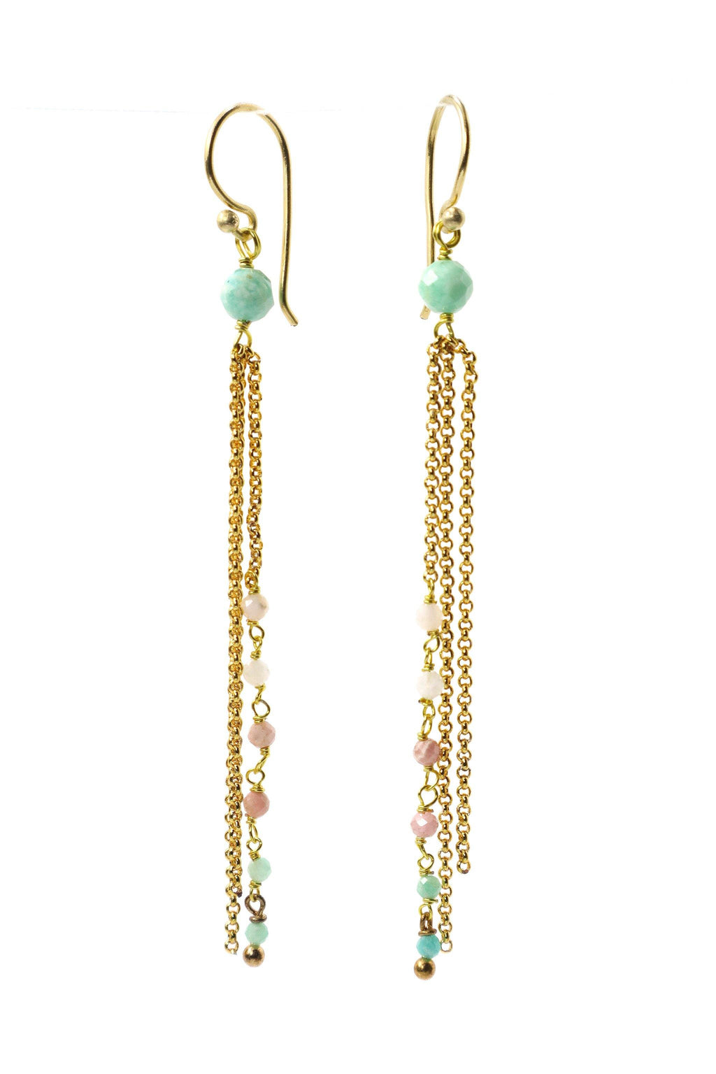 These earrings are a triple strand of rosary style gemstones and chains. The round agate, strawberry quartz, aquamarine, and apatite are wired in a graduated tone of light to dark. These earrings are handmade with love in Thailand. This is a Fair Trade Product.