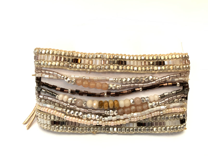 White and brown multi strand cuff bracelet from Filosophy