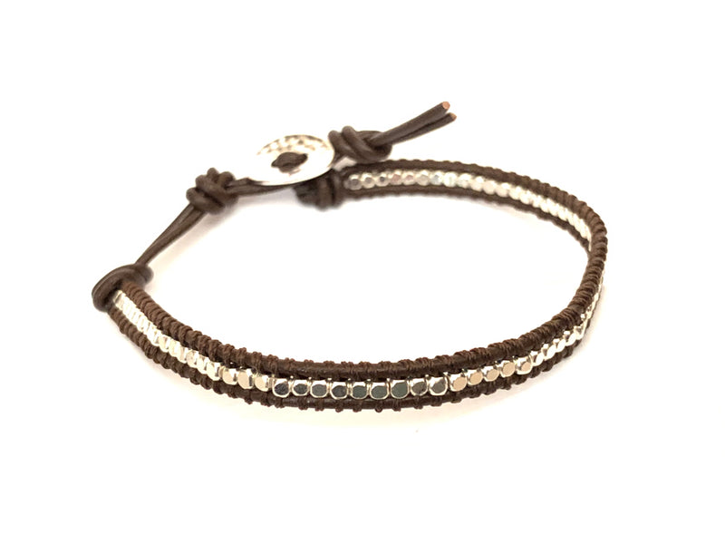 Lia bracelet - single strand, narrow brown leather bracelet with silver beads made by Filosophy