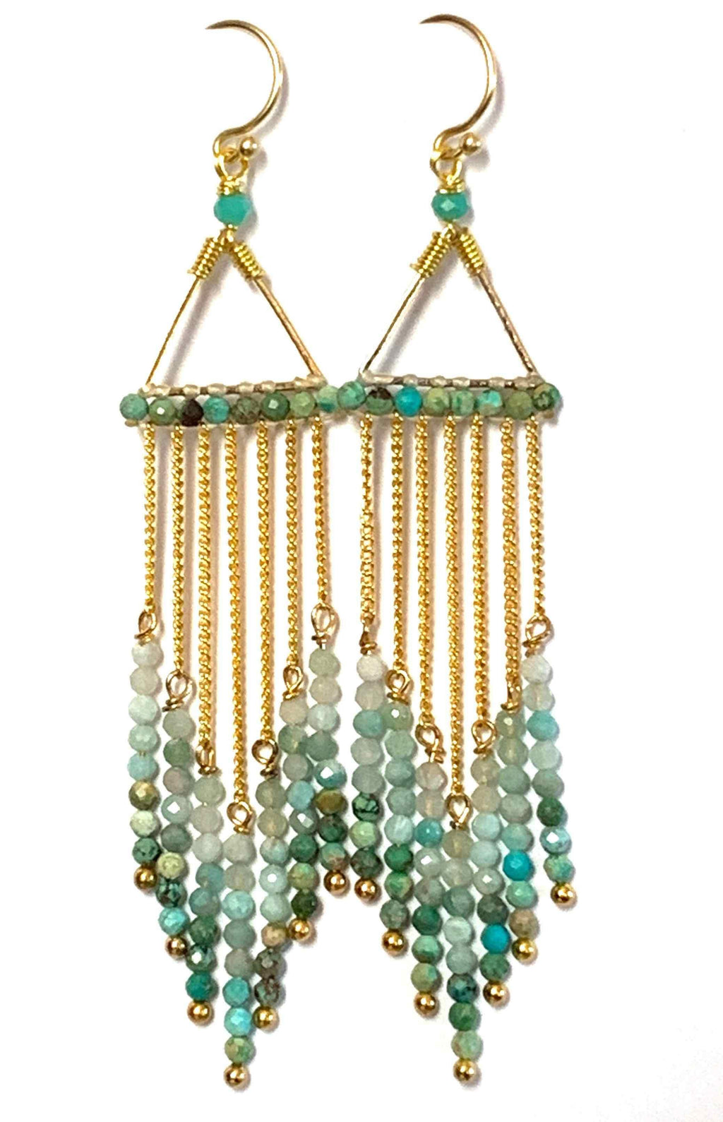 These waterfall statement earrings are a show stopper. They feature beautiful, faceted aquamarine and African turquoise gemstones hanging from a golden triangle in graduated tones from light to dark. They are handmade with love in Thailand. This is a Fairtrade Product.