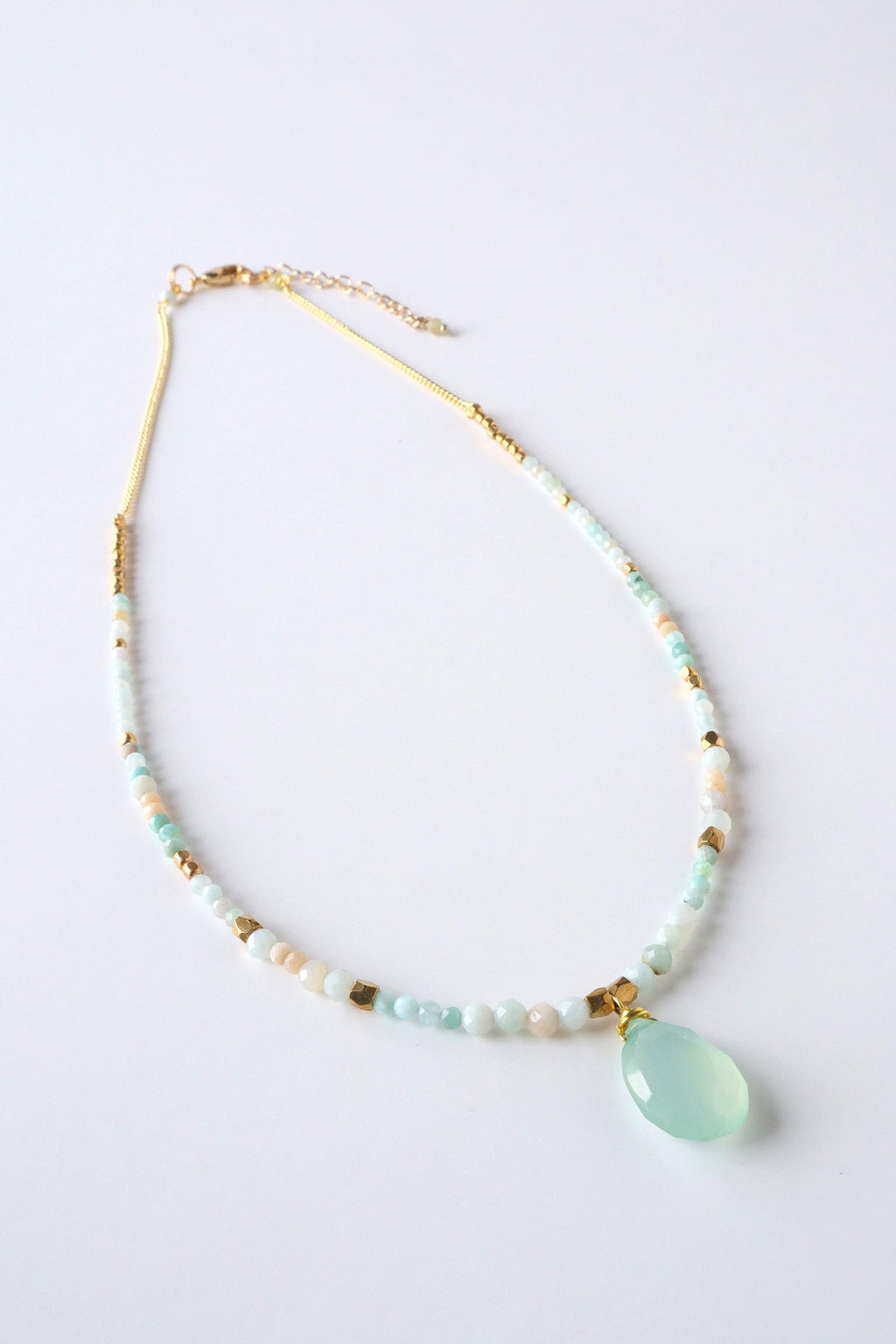 The Mia necklace is a single strand faceted gemstone necklace, features an aquamarine gemstone pendant.