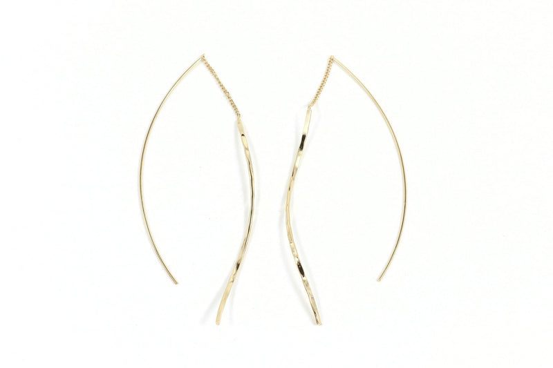 "These threader earrings are so sexy!  They are light and fun.  Simple put the straight line in your ear and pull through.  The ""thread"" remains in the center of your ear and the beautiful hammered lines dangle on each side.  You will love these earrings!"