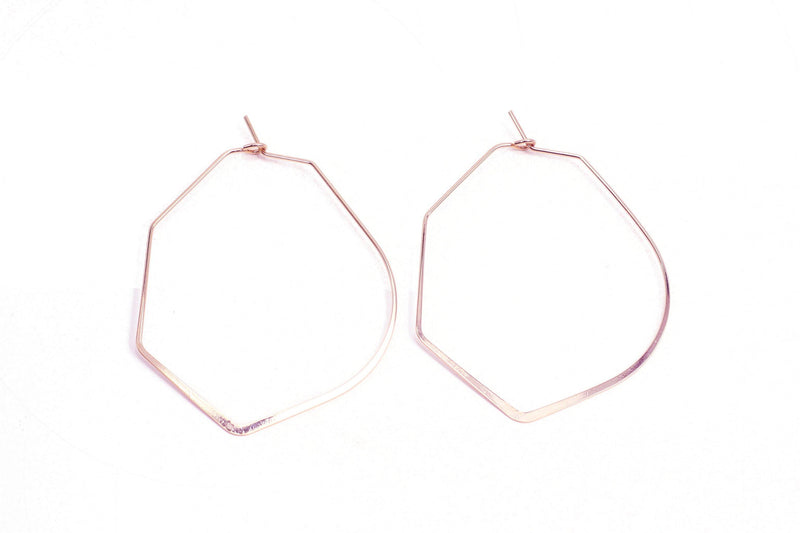 Rounded Hexagon Hoop Earrings - Rose Gold - Filosophy