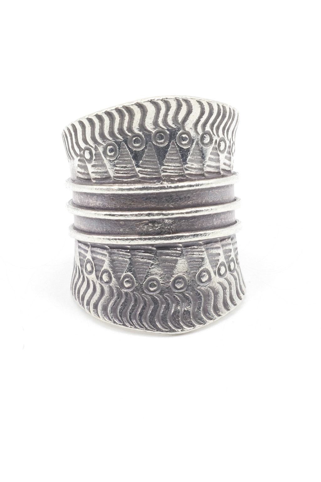 This is a Hill Tribe Ring which is handmade by the Artisans of the Karen Hill Tribe. Hill Tribe Silver has a higher silver content than sterling silver between 99.5 and 99.9%. In other words, its almost pure silver. It is only the solder used to fuse the silver components that create the slighter than 100% pure silver. Each ring is individually made, making slight variances among each piece.