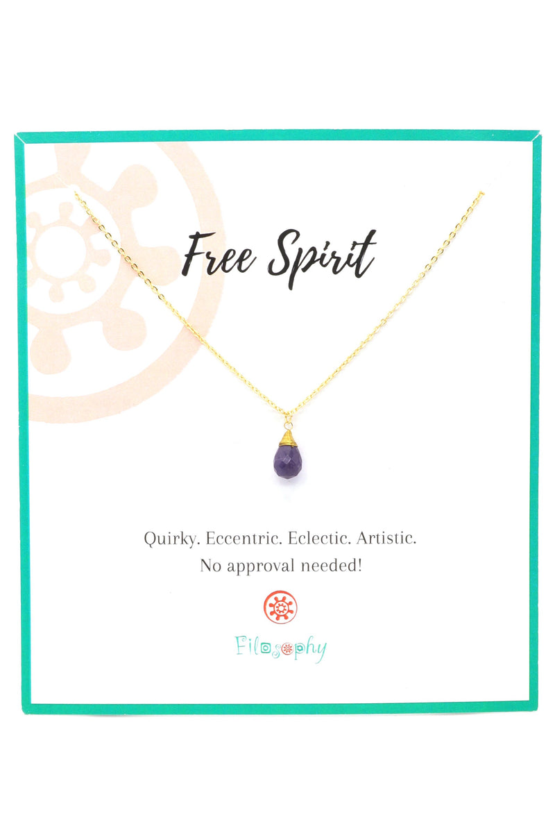Amethyst Teardrop Necklace - Inspirational Card